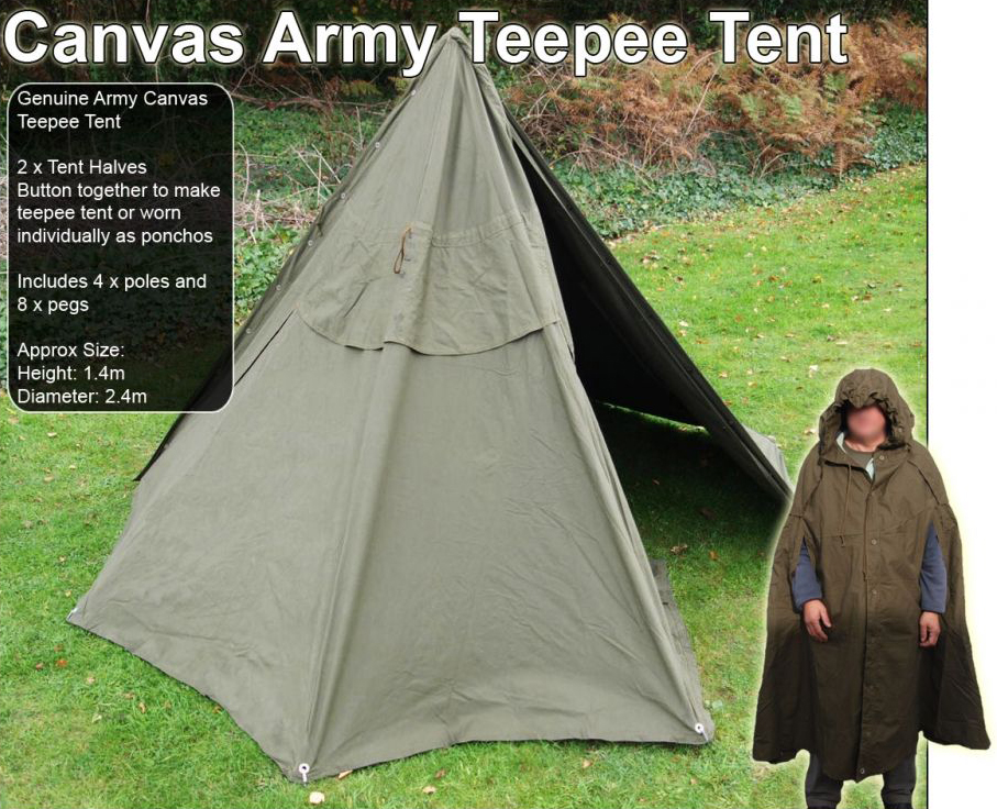 New in this week at Preppers Shop UK is this awesome Ex-Military Teepee Tent / Poncho. Perfect for UK Preppers itu0027s a great product and stocks are arriving ... & Latest Items: The Ex Military Teepee Tent | Preppers Shop UK Blog