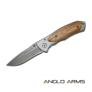 Anglo Arms Lock Knife With Zebra Wood Onlay & Sheath